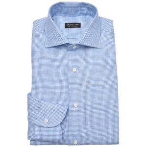 Stile Latino スティレ ラティーノ リネン ハウンドトゥース ワイドカラー ドレスシャツ【SALE 30%OFF】|realclothing