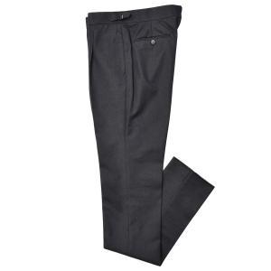 Stile Latino スティレ ラティーノ コットン ヴァージンウール デニム調 セットアップ サイドアジャスター 1プリーツ ドレスパンツ|realclothing