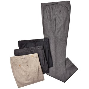 Rota ロータ ヴァージンウール フランネル メランジ サイドアジャスター 2プリーツ ドレスパンツ|realclothing