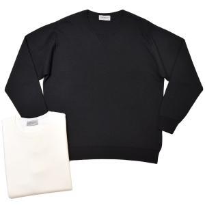 JOHN SMEDLEY ジョンスメドレー A4517 メリノウール 30ゲージ ダブルジャガード スウェットデザイン クルーネック ニット|realclothing