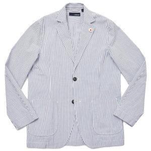 LARDINI ラルディーニ AMAJ コットン シアサッカー ストライプ シングル2Bシャツジャケット|realclothing