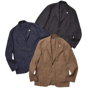 LARDINI ラルディーニ AMAJ リネン メランジ シングル2Bシャツジャケット|realclothing