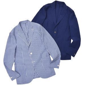 Matteucci(マテウッチ)MONZA コットン リネン シアサッカー ストライプ シングル2Bシャツジャケット|realclothing