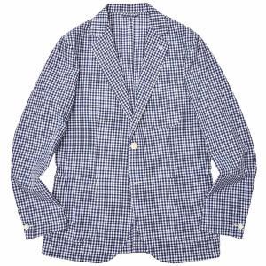 Matteucci(マテウッチ)MONZA コットン リネン シアサッカー ギンガムチェック シングル2Bシャツジャケット realclothing