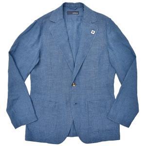 LARDINI(ラルディーニ)リネン インディゴ ハウンドトゥース シングル2Bシャツジャケット|realclothing