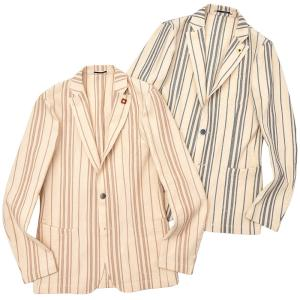 LARDINI(ラルディーニ)コットン リネン ストライプ シングル3Bシャツジャケット|realclothing