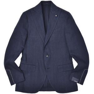 LARDINI(ラルディーニ)コットン リネン ヘリンボーン ピークドラペル シングル2Bジャケット|realclothing