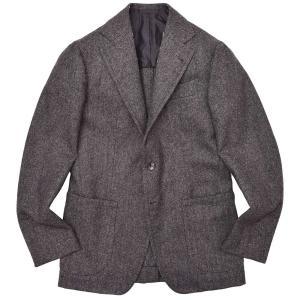 Alfonso Sirica(アルフォンソ シリカ)ウール フランネル メランジ ヘリンボーン シングル3Bジャケット|realclothing