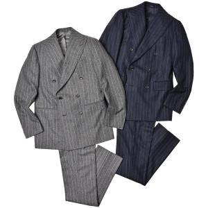 Stile Latino スティレ ラティーノ ヴァージンウール フランネル チョークストライプ 1プリーツ ダブル6Bスーツ LEO|realclothing