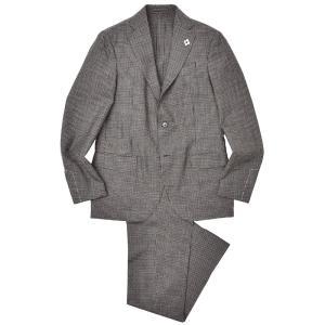 LARDINI(ラルディーニ)EASY WEAR ウール パッカブル ギンガムチェック 1プリーツ シングル3Bスーツ|realclothing