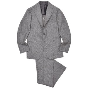 Alfonso Sirica(アルフォンソ シリカ)ウール フランネル メランジ グレンチェック 1プリーツ シングル3Bスーツ|realclothing
