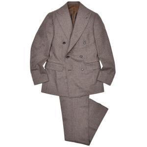 Stile Latino(スティレ ラティーノ)ウール フランネル メランジ サイドアジャスター 2プリーツ ダブル6Bスーツ|realclothing