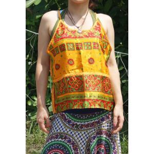 ビビッドカラー エスニック柄  キャミソール ゆったり カラフル レイヤー エスニック アジアン レディースファッション realcolor