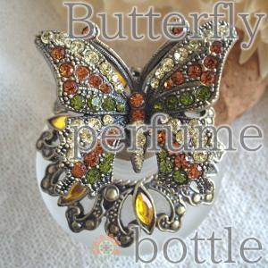 おしゃれ 外国風 パフュームボトル 1点物 蝶々 ガラス 香水瓶 香水入れ エスニック レディース  realcolor