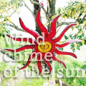 ステンドグラス ウインドチャイム 軽量 ウィンドベル 風鈴 オーナメント インテリア ホームデコレーション アウトドア ヒッピー エスニック realcolor