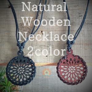 ユニセックス ナチュラル レザー エスニック ネックレス ブラック ブラウン シンプル 軽量 木 革 綿 アジアン レディースアクセサリー realcolor