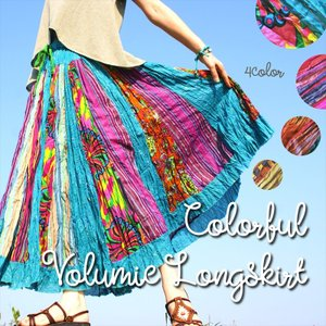 エスニック インドコットン ゆったりロングスカート 4color ティアードスカート 美シルエット アジアン レディースファッション realcolor