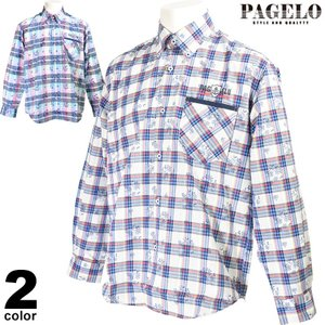 パジェロ PAGELO 長袖カジュアルシャツ メンズ 2020春夏 ボタンダウン チェック 花柄 01-1102-07 realtree