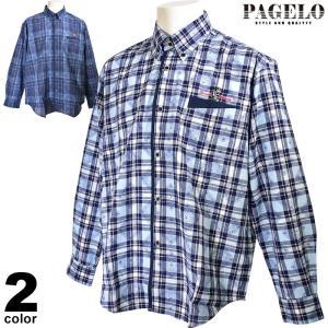 パジェロ PAGELO 長袖カジュアルシャツ メンズ 2020春夏 ボタンダウン チェック 01-1103-07 realtree