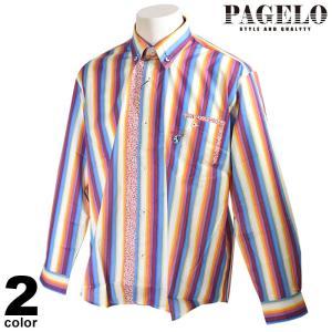 パジェロ PAGELO 長袖 カジュアルシャツ メンズ 2020春夏 ボタンダウン ストライプ 花柄 01-1111-07 realtree