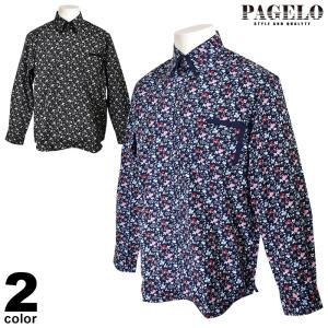 パジェロ PAGELO 長袖ボタンダウンシャツ メンズ 2020春夏 小花柄 総柄 01-1115-07|realtree
