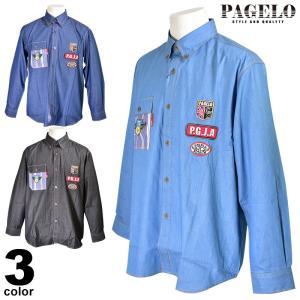 パジェロ PAGELO 長袖ボタンダウンシャツ メンズ 2020春夏 ロゴワッペン 01-1116-07|realtree