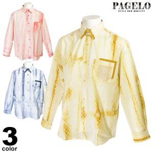 パジェロ PAGELO 長袖ボタンダウンシャツ メンズ 2020春夏 薄手 総柄 プリント 01-1119-07|realtree
