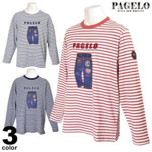 パジェロ PAGELO 長袖ボーダーカットソー メンズ 2021春夏 アップリケ クルーネック 01-13-1502-07|realtree