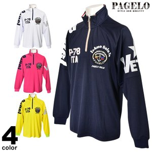 パジェロ PAGELO 長袖 カットソー メンズ 2020春夏 ハーフジップ ロゴ 01-1602-07|realtree