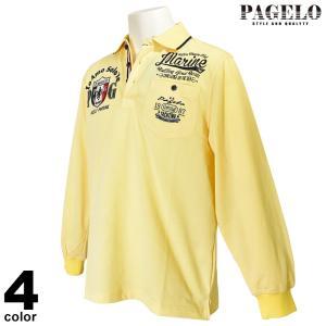 パジェロ PAGELO 長袖ポロシャツ メンズ 2021春夏 鹿の子 ロゴ ワッペン プリント 13-1801-07|realtree