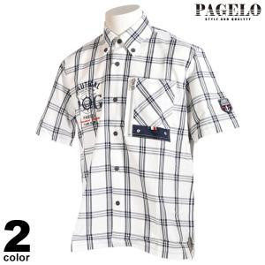 パジェロ PAGELO 半袖 カジュアルシャツ メンズ 2021春夏 ボタンダウン ブロックチェック ロゴ ペイズリー 13-2101-07|realtree