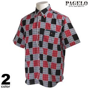 PAGELO パジェロ 半袖 カジュアルシャツ メンズ 2020春夏 ボタンダウン グレンチェック 01-2109-07|realtree