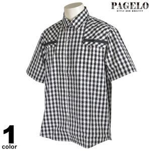 パジェロ PAGELO 半袖 カジュアルシャツ メンズ 2021春夏 胸ポケット付き コットン ボタンダウン ロゴ 13-2131-07|realtree