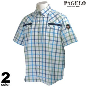 PAGELO パジェロ 半袖 カジュアルシャツ メンズ 2020春夏 ボタンダウン チェック柄 ロゴ 01-2132-07|realtree