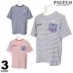 パジェロ PAGELO 半袖 カットソー メンズ 2020春夏 ボーダー ロゴ 01-2504-07|realtree
