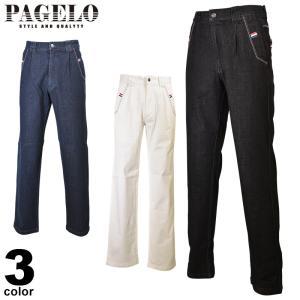 パジェロ PAGELO ロングパンツ メンズ 2020春夏 ジーンズ ワンタック ロゴ 01-5122-07|realtree