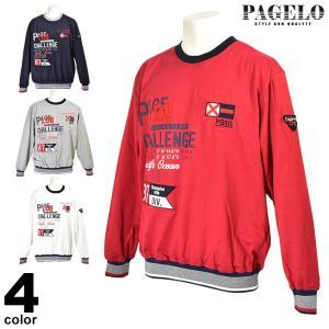 大きいサイズ パジェロ PAGELO 長袖 トレーナー メンズ 春夏 ボーダー ロゴ 01-6501-071|realtree
