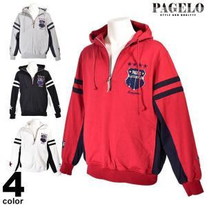 パジェロ PAGELO 長袖 トレーナー メンズ 2020春夏 ハーフジップ ロゴ 01-6502-07|realtree