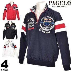 パジェロ PAGELO 長袖カットソー メンズ 2020春夏 ハーフジップ ロゴ 01-6503-07|realtree
