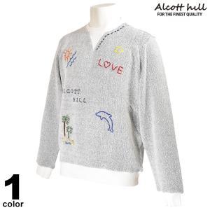 アルコットヒル ALCOTT HILL 長袖 サマーセーター メンズ 2020春夏 イルカ ロゴ 01-6505-10|realtree
