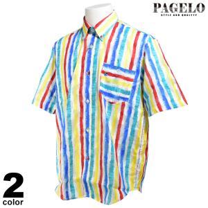 PAGELO パジェロ 半袖 カジュアルシャツ メンズ 2020春夏 ストライプ ボタンダウン 03-2110-07|realtree