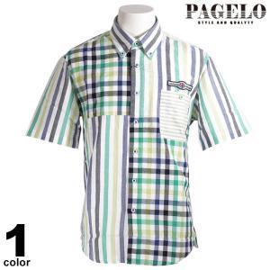 PAGELO パジェロ 半袖 カジュアルシャツ メンズ 2020春夏 ストライプ ボタンダウン 03-2114-07|realtree