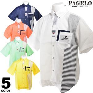 PAGELO パジェロ 半袖 カジュアルシャツ メンズ 2020春夏 ボーダー ボタンダウン 03-2126-07|realtree