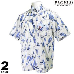 PAGELO パジェロ 半袖ボタンダウンシャツ メンズ 2020春夏 ヨット柄 手書き風プリント 総柄 03-2131-07|realtree