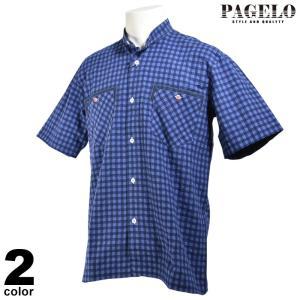 PAGELO パジェロ 半袖 カジュアルシャツ メンズ 2020春夏 チェック スタンドカラー 03-2302-07|realtree