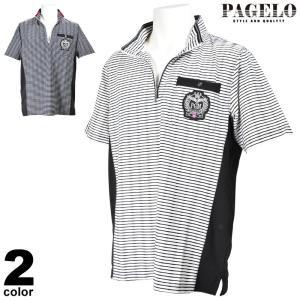 PAGELO パジェロ 半袖 カットソー メンズ 2020春夏 ハーフジップ ボーダー 03-2613-07|realtree