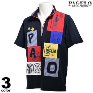 PAGELO パジェロ 半袖 カットソー メンズ 2020春夏 ハーフジップ 刺繍 03-2614-07|realtree