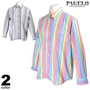 パジェロ PAGELO 長袖 カジュアルシャツ メンズ 2020春夏 ストライプ ロゴ 04-1141-07|realtree