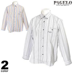 パジェロ PAGELO 長袖 カジュアルシャツ メンズ 2020春夏 ストライプ まだら模様 ロゴ 04-1142-07|realtree