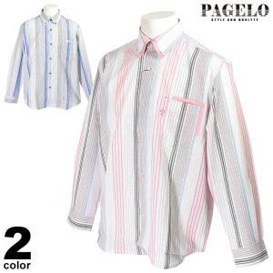 パジェロ PAGELO 長袖 カジュアルシャツ メンズ 2020春夏 ストライプ ロゴ 04-1143-07|realtree